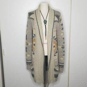 Lucky Brand Long Aztec Open Cardigan size medium